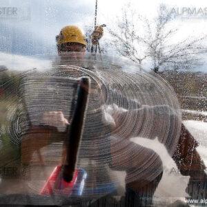 """Външно почистване на прозорци на зала """"Мати"""" в НДК"""