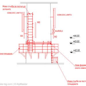 Схема на новите площадка, стълба и носачи за антени, които трябва да монтираме.